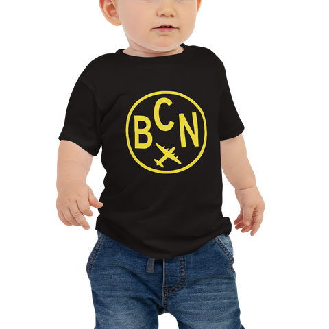YHM Designs - BCN Barcelona Airport Code T-Shirt - Baby Infant - Boy's or Girl's Gift