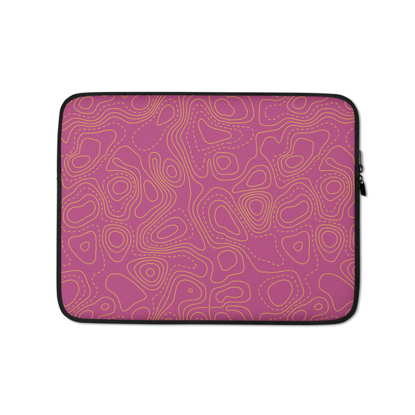 YHM Designs - Contour Map Laptop Sleeve • Fuchsia 1