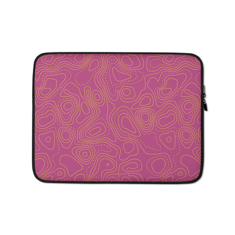 Contour Map Laptop Sleeve • Fuchsia