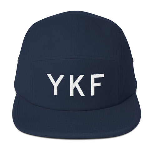 YHM Designs - YKF Waterloo Airport Code Camper Hat - Navy Blue - Front - Christmas Gift