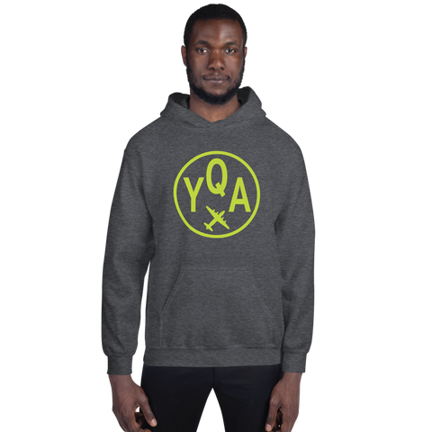 YHM Designs - YQA Muskoka Airport Code Hoodie with Roundel Design - Dark Heather - Front