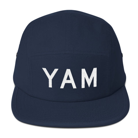 YHM Designs - YAM Sault-Ste-Marie Airport Code Camper Hat - Navy Blue - Front - Christmas Gift