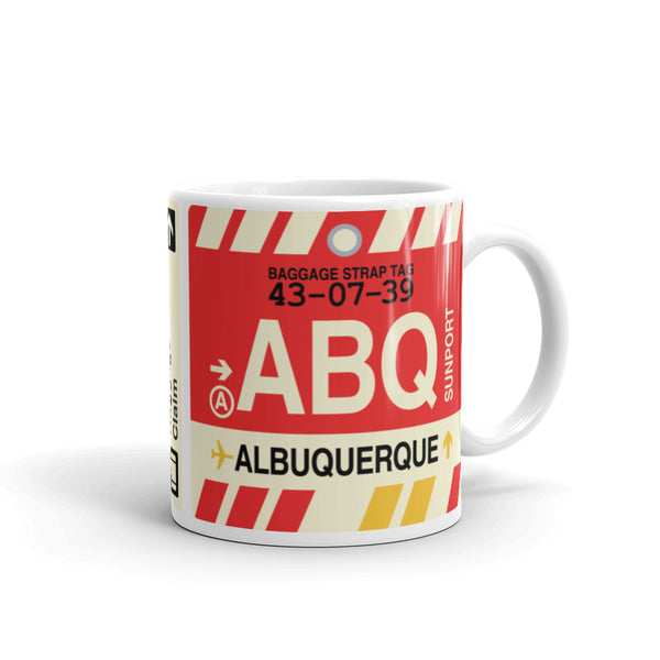 YHM Designs - ABQ Albuquerque Airport Code Coffee Mug - Graduation Gift, Housewarming Gift - Right