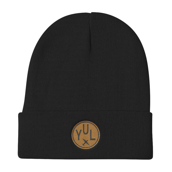 YHM Designs - YUL Montreal Vintage Roundel Airport Code Winter Hat - Black - Aviation Gift - Christmas Gift