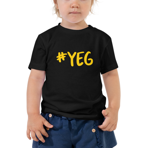 YHM Designs - YEG Edmonton Airport Code Hashtag Design T-Shirt - Toddler Child - Boy's or Girl's Gift