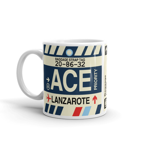 YHM Designs - ACE Lanzarote Airport Code Coffee Mug - Travel Theme Drinkware and Gift Ideas - Right