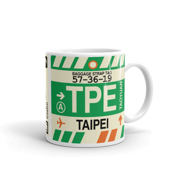 YHM Designs - TPE Taipei, Taiwan Airport Code Coffee Mug - Graduation Gift, Housewarming Gift - Right