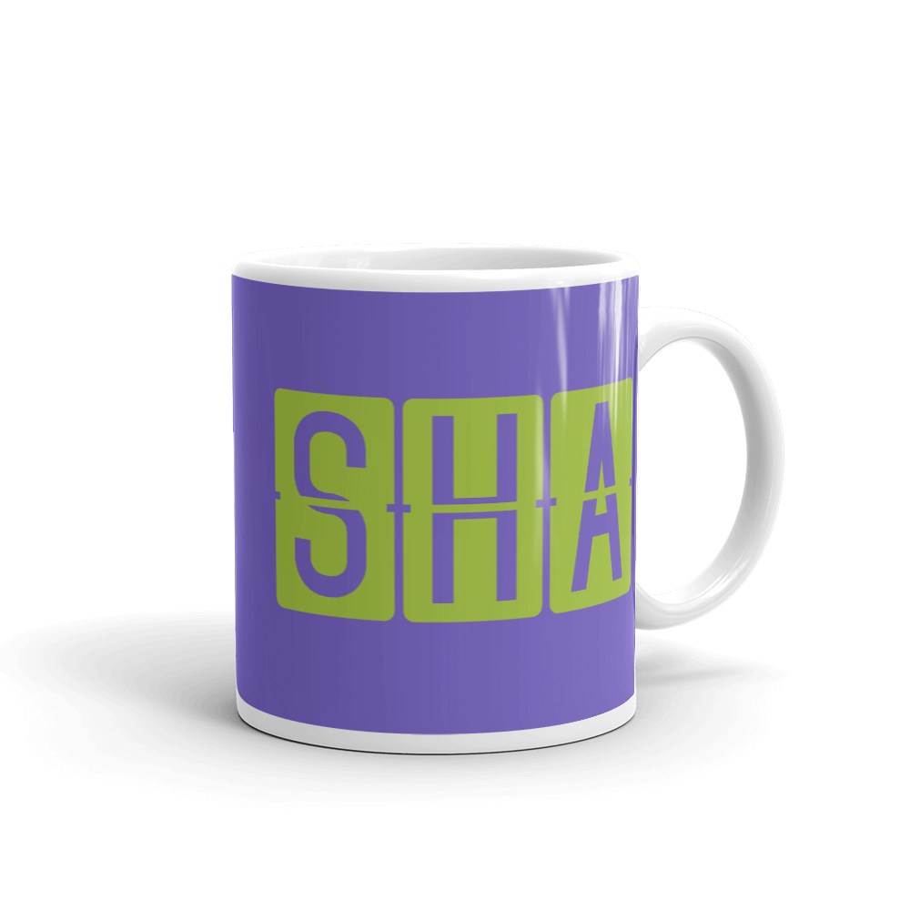 YHM Designs - SHA Shanghai Airport Code Split-Flap Display Coffee Mug - Graduation Gift, Housewarming Gift - Green and Purple - Right