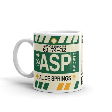 YHM Designs - ASP Alice Springs Airport Code Coffee Mug - Graduation Gift, Housewarming Gift - Right