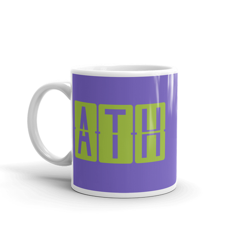 YHM Designs - ATH Athens Airport Code Split-Flap Display Coffee Mug - Birthday Gift, Christmas Gift - Green and Purple - Left