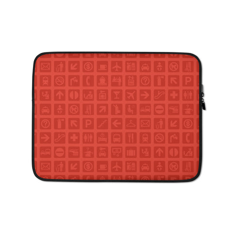 YHM Designs - Airport Symbols Laptop Sleeve • Cherry Tomato Red 1