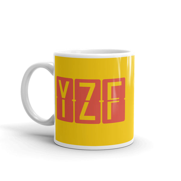 YHM Designs - YZF Yellowknife, Northwest Territories Airport Code Coffee Mug - Birthday Gift, Christmas Gift - Red and Yellow - Left
