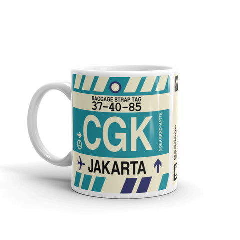 YHM Designs - CGK Jakarta, Indonesia Airport Code Coffee Mug - Birthday Gift, Christmas Gift - Left