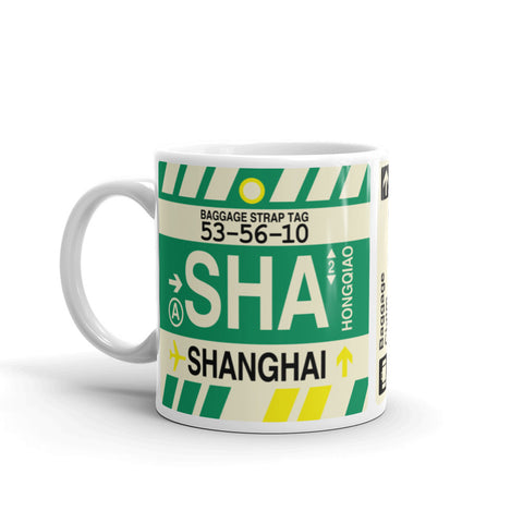 YHM Designs - SHA Shanghai, China Airport Code Coffee Mug - Birthday Gift, Christmas Gift - Left