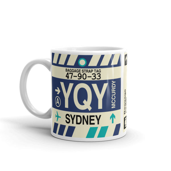 YHM Designs - YQY Sydney, Nova Scotia Airport Code Coffee Mug - Birthday Gift, Christmas Gift - Left