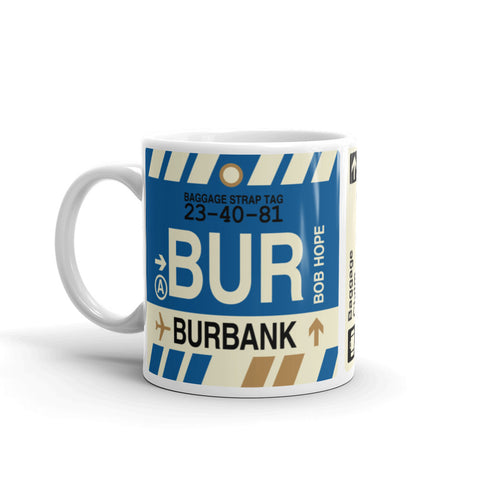 YHM Designs - BUR Burbank Airport Code Coffee Mug - Birthday Gift, Christmas Gift - Left