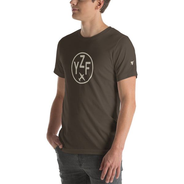 YHM Designs - YZF Yellowknife T-Shirt - Airport Code and Vintage Roundel Design - Adult - Army Brown - Gift for Dad or Husband