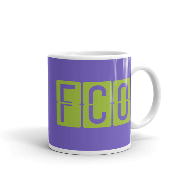YHM Designs - FCO Rome Airport Code Split-Flap Display Coffee Mug - Graduation Gift, Housewarming Gift - Green and Purple - Right