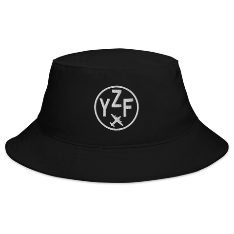 YHM Designs - YZF Yellowknife Airport Code Bucket Hat - Black