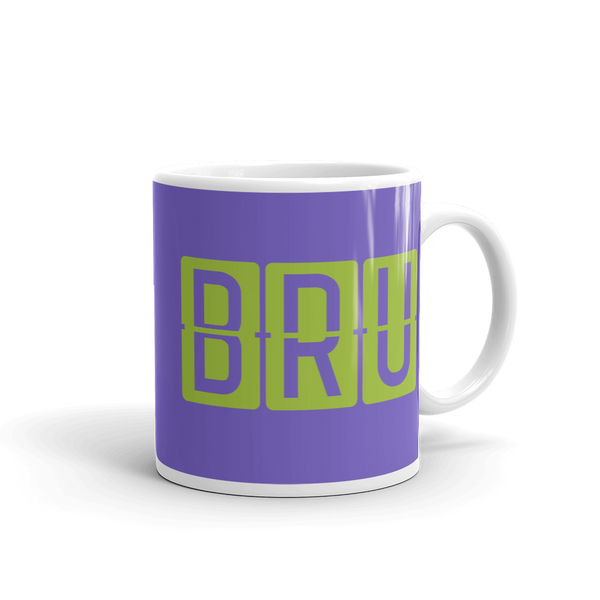 YHM Designs - BRU Brussels Airport Code Split-Flap Display Coffee Mug - Graduation Gift, Housewarming Gift - Green and Purple - Right