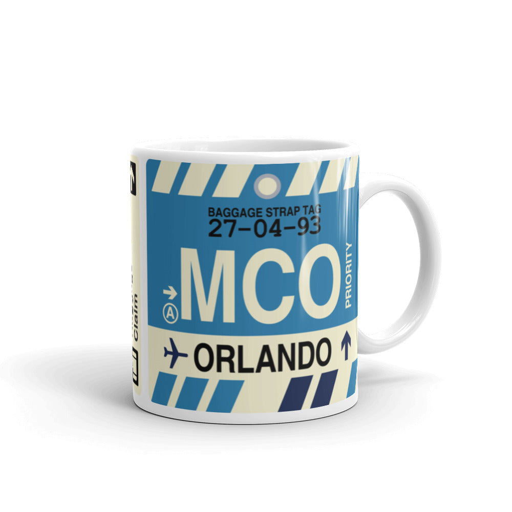YHM Designs - MCO Orlando, Florida Airport Code Coffee Mug - Graduation Gift, Housewarming Gift - Right