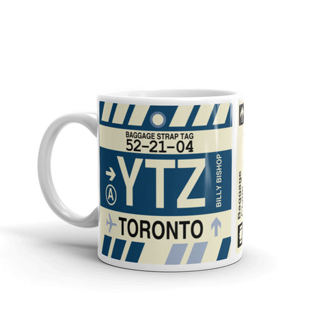 YHM Designs - YTZ Toronto Airport Code Coffee Mug - Birthday Gift, Christmas Gift - Left