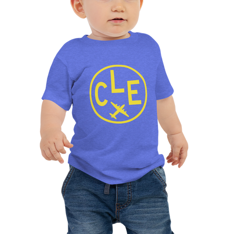 YHM Designs - CLE Cleveland Airport Code T-Shirt - Baby Infant - Boy's or Girl's Gift