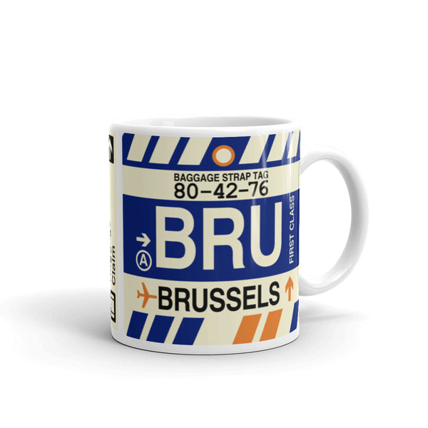 YHM Designs - BRU Brussels Airport Code Coffee Mug - Graduation Gift, Housewarming Gift - Right