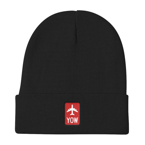YHM Designs - YOW Ottawa Retro Jetliner Airport Code Winter Hat - Black - Christmas Gift