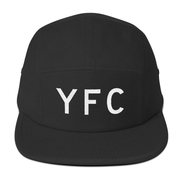 YHM Designs - YFC Fredericton Airport Code Camper Hat - Black - Front - Student Gift