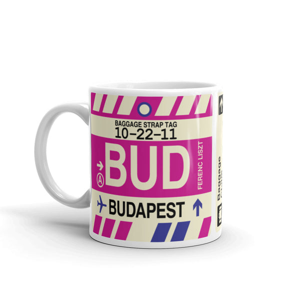 YHM Designs - BUD Budapest Airport Code Coffee Mug - Birthday Gift, Christmas Gift - Left