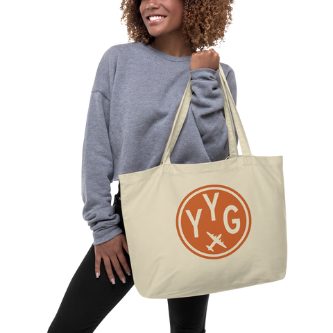 YHM Designs - YYG Charlottetown Airport Code Large Organic Cotton Tote Bag - Lady
