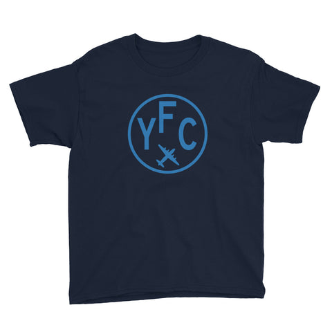 YHM Designs - YFC Fredericton T-Shirt - Airport Code and Vintage Roundel Design - Child Youth - Black - Gift for Grandchildren
