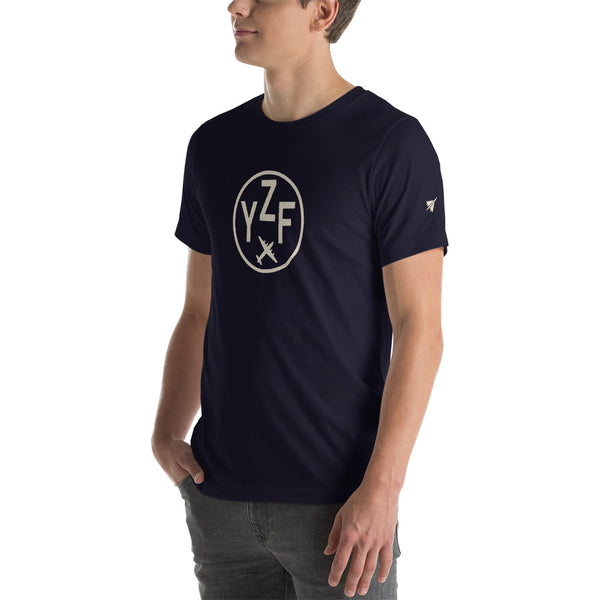 YHM Designs - YZF Yellowknife T-Shirt - Airport Code and Vintage Roundel Design - Adult - Navy Blue - Gift for Dad or Husband