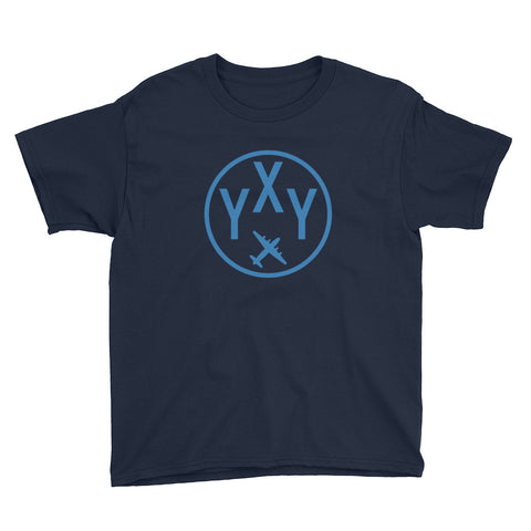 YHM Designs - YXY Whitehorse T-Shirt - Airport Code and Vintage Roundel Design - Youth - Navy Blue - Gift for Child or Children