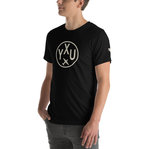 YHM Designs - YXU London Airport Code T-Shirt - Adult - Black - Gift for Dad or Husband