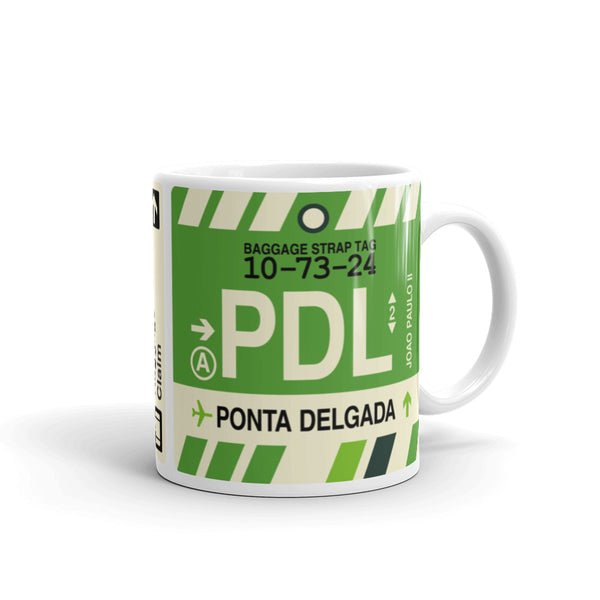 YHM Designs - PDL Ponta Delgada, Azores Airport Code Coffee Mug - Graduation Gift, Housewarming Gift - Right