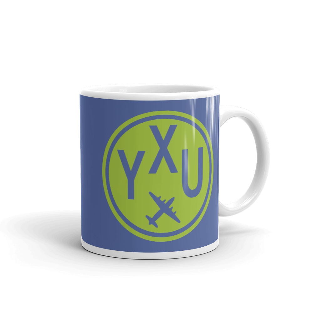 YHM Designs - YXU London Airport Code Vintage Roundel Coffee Mug - Graduation Gift, Housewarming Gift - Green and Blue - Right