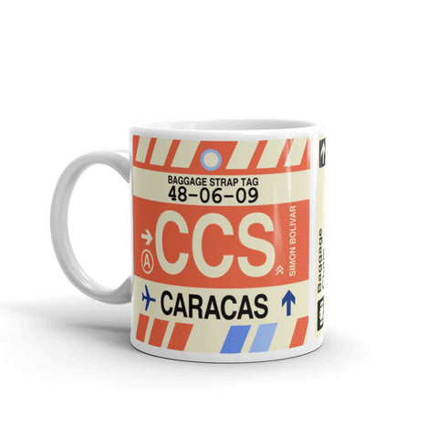 YHM Designs - CCS Caracas, Venezuela Airport Code Coffee Mug - Birthday Gift, Christmas Gift - Left