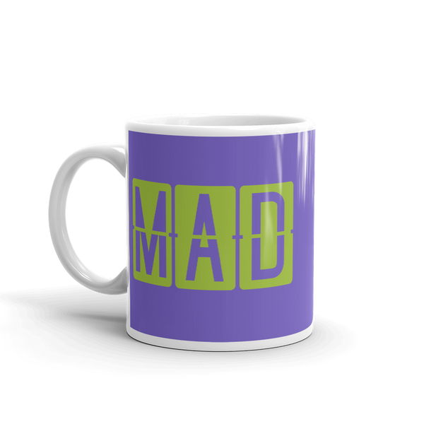YHM Designs - MAD Madrid Airport Code Split-Flap Display Coffee Mug - Birthday Gift, Christmas Gift - Green and Purple - Left