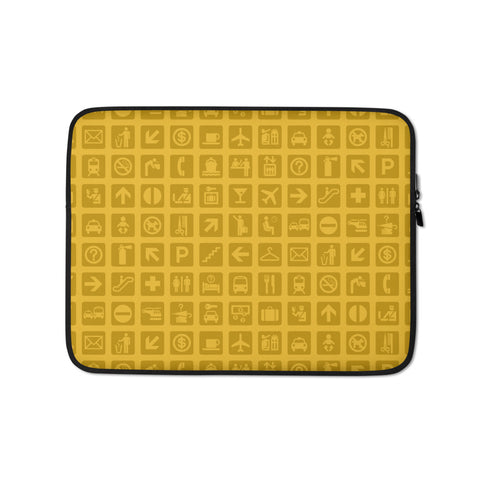 Airport Symbols Laptop Sleeve • Citrine Yellow