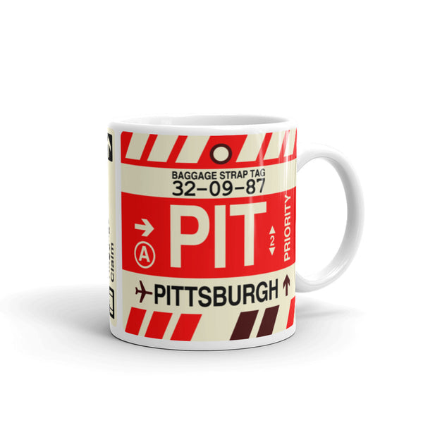 YHM Designs - PIT Pittsburgh Airport Code Coffee Mug - Graduation Gift, Housewarming Gift - Right