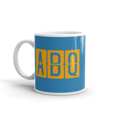 YHM Designs - ABQ Albuquerque Airport Code Split-Flap Display Coffee Mug - Birthday Gift, Christmas Gift - Orange and Blue - Left