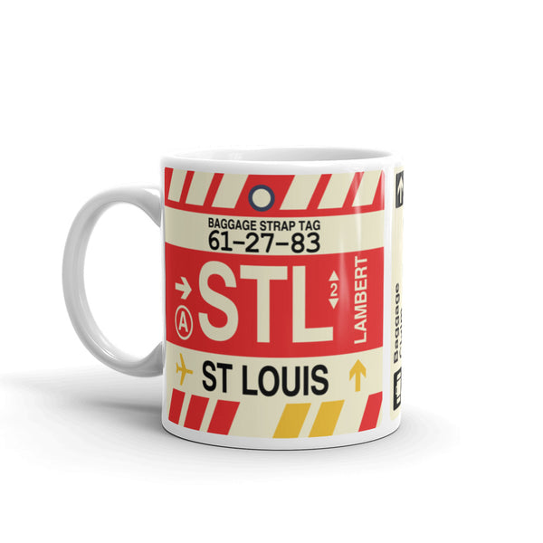 YHM Designs - STL St. Louis Airport Code Coffee Mug - Birthday Gift, Christmas Gift - Left