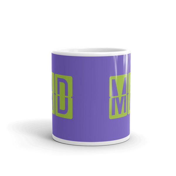 YHM Designs - MAD Madrid Airport Code Split-Flap Display Coffee Mug - Teacher Gift, Airbnb Decor - Green and Purple - Side