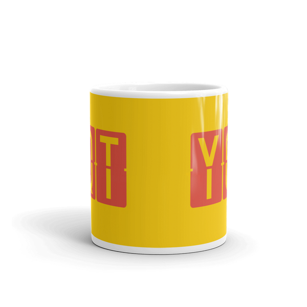 YHM Designs - YQT Thunder Bay, Ontario Airport Code Coffee Mug - Teacher Gift, Airbnb Decor - Red and Yellow - Side
