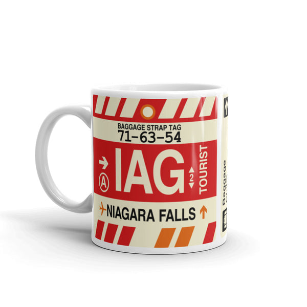 YHM Designs - IAG Niagara Falls Airport Code Coffee Mug - Birthday Gift, Christmas Gift - Left