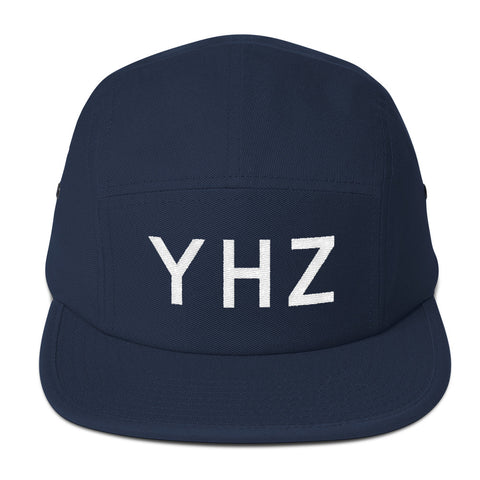 YHM Designs - YHZ Halifax Airport Code Camper Hat - Navy Blue - Front - Christmas Gift