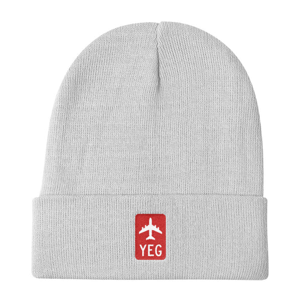 YHM Designs - YEG Edmonton Retro Jetliner Airport Code Winter Hat - White - Travel Gift