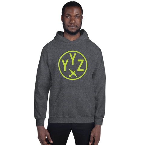 YHM Designs - YYZ Toronto Airport Code Hoodie with Roundel Design - Dark Heather - Front